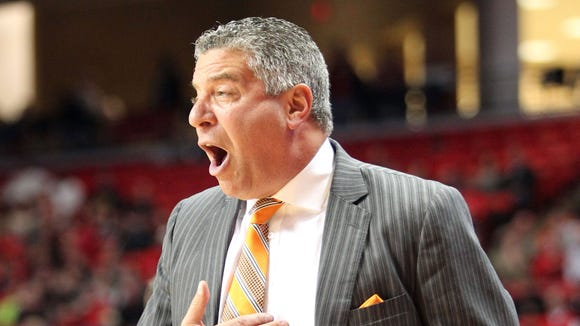 Auburn coach Bruce Pearl on the sidelines during the game with the Texas Tech Red Raiders at United Supermarkets Arena.