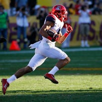 Arizona wide receiver Trey Griffey (5) runs for a touchdown during the second half of an NCAA college football game against Arizona State, Saturday, Nov. 21, 2015, in Tempe, Ariz. Arizona State won 52-37.