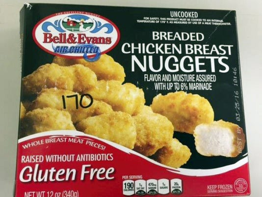 The packaging of Bell & Evans 12 oz. boxes of Gluten Free Breaded Chicken Breast Nuggets some of which are subject to a recall. Courtesy photo