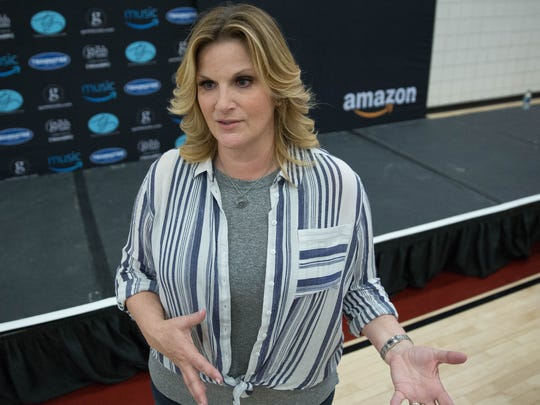 Trisha Yearwood, talks about her love of music and cooking during a press conference at New Mexico State University, April 7, 2017.
