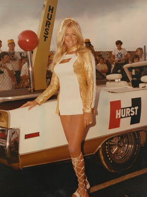 Linda Vaughn, making an appearance as the Hurst Golden Olds Girl in Indianapolis May 21, 1972.