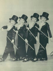 Morlok quads in their dance outfits at age seven, in 1937. Helen, left, Wilma, Sarah and Edna.