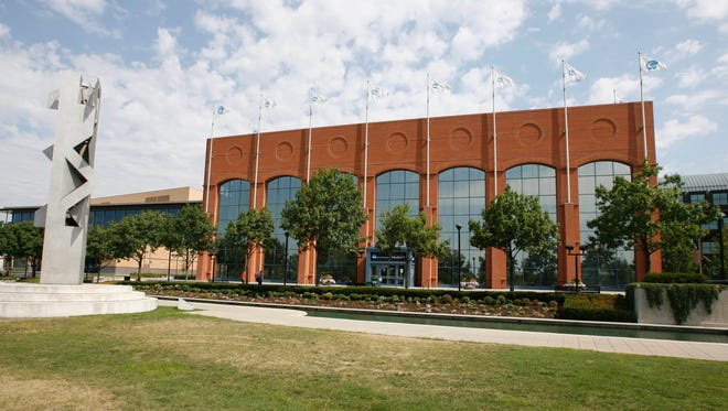 The exterior of the NCAA Headquarters in Indianapolis.