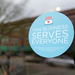 A window sticker on a downtown Indianapolis business, Wednesday, March 25, 2015, shows its objection to the Religious Freedom bill passed by the Indiana legislature. Organizers of a major gamers' convention and a large church gathering say they're considering moving events from Indianapolis over a bill that critics say could legalize discrimination against gays.