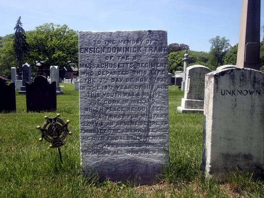 The grave of Ensign Dominick Trant, a soldier in the