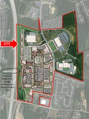 The Shopping Center Group out of Charlotte is using this map in marketing materials for BridgeWay Station in Mauldin, previously known as CenterPointe Business Park.