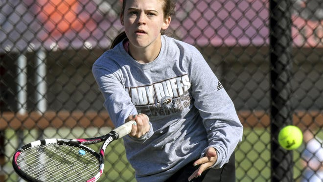 Garden City High School's Sage Riggs hits a forehand shot cross court in a match during a past GCHS girls tennis invite at the GCHS courts. Riggs won the No. 1 singles division Tuesday in the Dodge City Invitational.