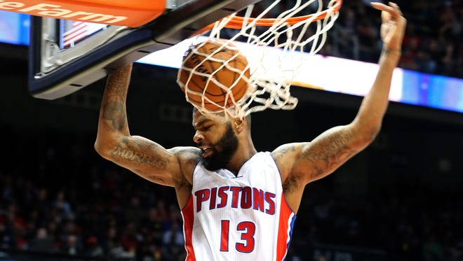 Pistons forward Marcus Morris dunks in the first quarter of their game against the Atlanta Hawks at Philips Arena on Tuesday.