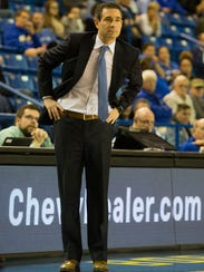 University of Delaware coach Martin Ingelsby looks on last Monday night during the Hens' 76-66 loss against Yale at the Bob Carpenter Center.