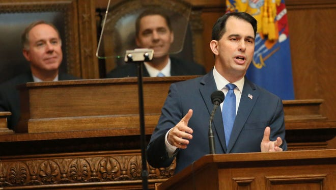 """Gov. Scott Walker delivers his 2018 """"state of the state"""" address."""
