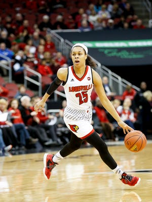 Louisville's Asia Durr is on the go during the game against NC State. Feb. 2, 2017