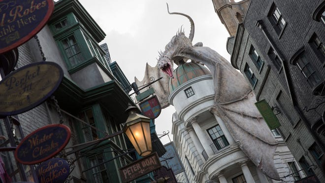 Shown is a glimpse of the Wizarding World of Harry Potter - Diagon Alley at Universal Studios.