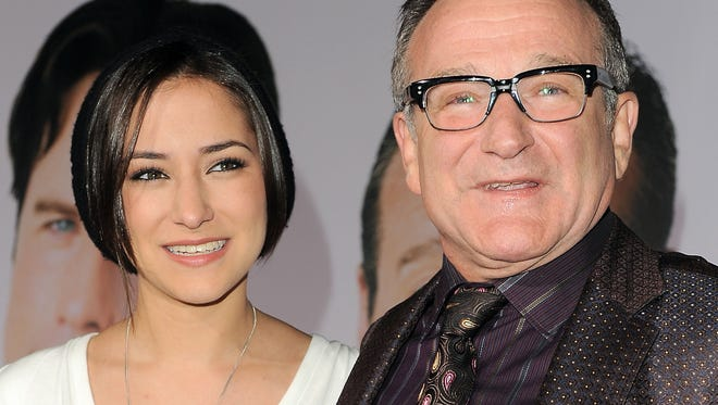 "Zelda Williams, left, with her father Robin Williams at the premiere of ""Old Dogs,"" in Los Angeles on Nov. 9, 2009."