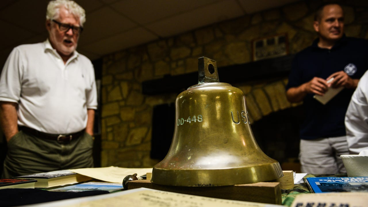 The Hardenstines got to see the bell of the USS LA VALLETTE which Howard Hardenstine served on when he was killed in the Battle of Guadalcanal