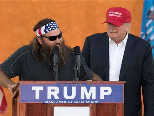 'Duck Dynasty' star Willie Robertson joined Donald Trump on the campaign trail, including this event at the Oklahoma State Fair on Sept. 25, 2015.