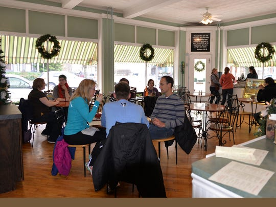 Customers relax inside All That & A Bag of Chips at 443 Cumberland St., Lebanon, on Dec. 31, 2015. The cafe/restaurant serves Pennsylvania Dutch cuisine.