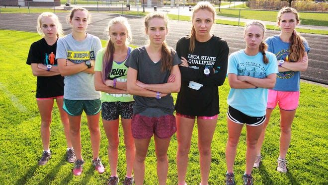 The Lakeview High School girls cross country varsity team
