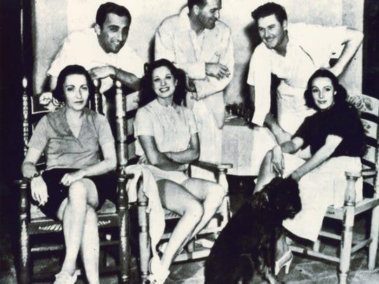 Helen A. Braniff, Manuel Reachi, Lili Damita (Mrs. Errol Flynn) Cedric Gibbons, Errol Flynn and Delores Del Rio (Mrs. Cedric Gibbons), 1938.