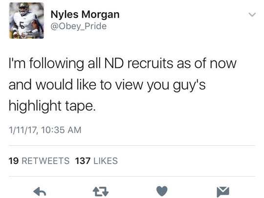 Nyles Morgan tweets to incoming Notre Dame recruits that he'd like to see their game film.