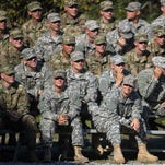 Branden Camp/APMaj. Lisa Jaster, bottom right, sits with other Rangers during an Army Ranger school graduation ceremony Oct. 16 in Fort Benning, Ga. Jaster, who is the first Army Reserve female to graduate the Army's Ranger School, joins U.S. Army Capt. Kristen Griest and First Lt. Shaye Haver as the third female soldier to complete the school. Maj. Lisa Jaster, bottom right, sits with other Rangers during an Army Ranger school graduation ceremony, Friday, Oct. 16, 2015, in Fort Benning, Ga. Jaster, who is the first Army Reserve female to graduate the Army's Ranger School, joins U.S. Army Capt. Kristen Griest and First Lt. Shaye Haver as the third female soldier to complete the school. (AP Photo/Branden Camp)