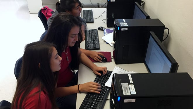 Students work on an assignment in the Tornillo Junior High School computer lab Oct. 14. Tornillo is one of the most property-poor school districts in the state.