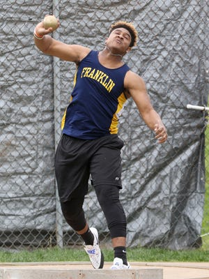 Franklin's Dave Anderson puts the shot at the Skyland Conference Track & Field Championships at Hillsborough on May 10, 2016.