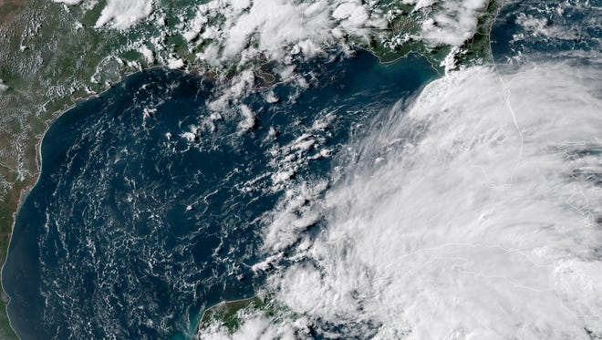 A GOES Satellite image of Subtropical Storm Alberto.