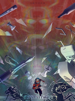 """Mondo is giving Comic-Con attendees a bunch of pop-culture items to check out, including a holofoil poster inspired by the new """"Ant-Man"""" movie."""