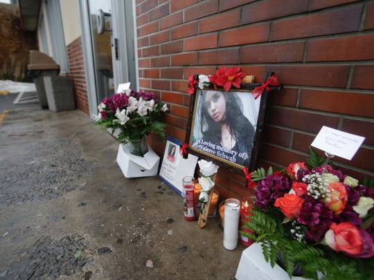 A memorial has been set up for Valeree Schwab, 16, a New Rochelle student at the Dunkin' Donuts in New Rochelle on Jan. 12, 2018, where she was fatally stabbed to death by another student earlier this week.