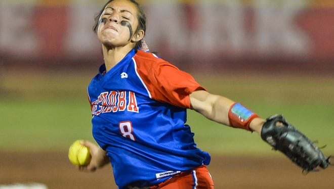 Neshoba Central pitcher Aspen Wesley (8) delivers a pitch during MHSAA Fast Pitch Softball 5A Championship action held in Madison, Mississippi May 13th, 2016.(Bob Smith-For The Clarion Ledger)