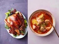Left, lemony roast chicken contributes to Roast-Chicken Grain Bowl. Right, Smoky Salmon-and-Potato Stew.