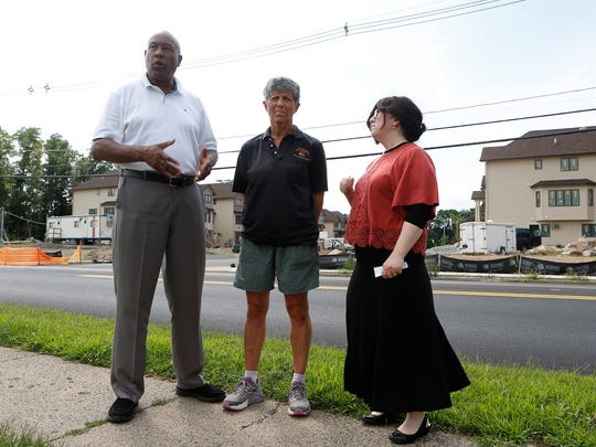 Micheal Miller, left, from Hillcrest, Hilda Kogut from Chestnut Ridge and Shani Bechhofer from Monsey talk about over building in the unincorporated sections of Ramapo and Chestnut Ridge.