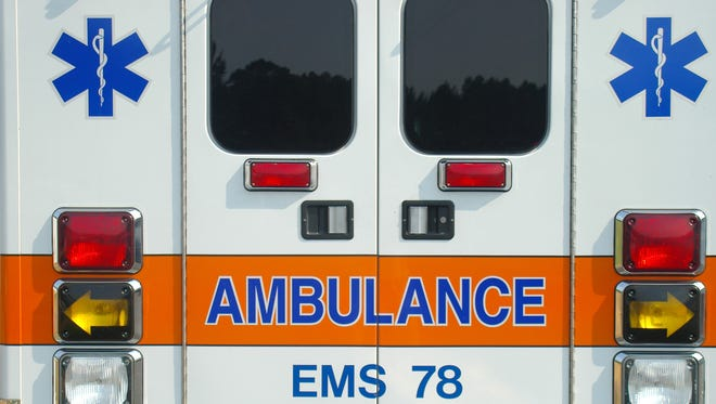 Image shows back of ambulance.