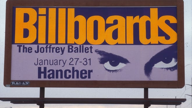 "This billboard was used to advertise the Joffrey Ballet's 1993 production of ""Billboards"" at Hancher Auditorium. Featuring music by Prince, the production was Hancher's most successful rock ballet to date."