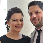 "FILE - In this July 13, 2014 file photo, actress Casey Wilson, left, and her husband David Caspe pose in Beverly Hills, Calif. Their comedy series ""Marry Me,"" premieres Tuesday, Oct. 14, at 9 p.m. ET on NBC."