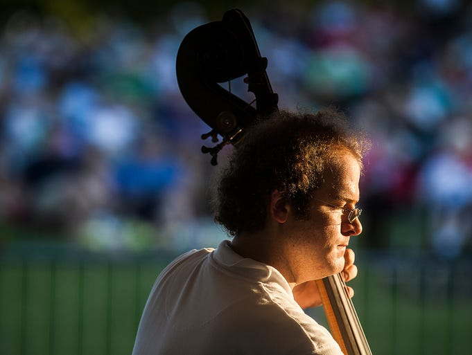A crowd gathered at Minnetrista for performances by the Muncie Symphony Orchestra and the Ball State Marching Band Wednesday evening during Summer Stage Fest.