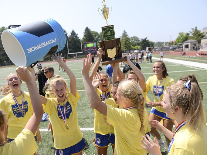 Mariemont players celebrate their win in the OHSAA