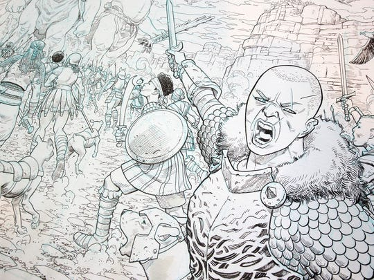 A detail from one of the covers Mike Hawthorne drew for Story Supply Co.'s new line of artists sketchbooks. This cover depicts a war between the Giants and the Shield Maidens.