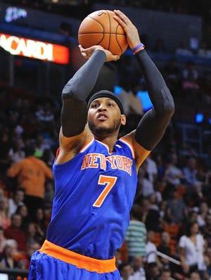 New York Knicks forward Carmelo Anthony (7) says he loves the city.