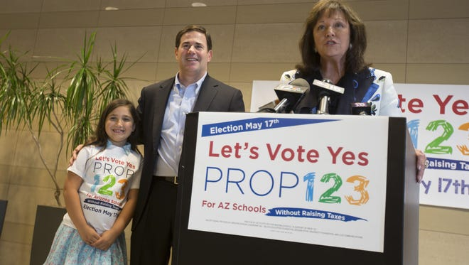 Ducey brought education leaders and lawmakers together to strike a deal that would pump $3.5 billion into K-12 education over 10 years and bring an end to a five-year education-funding battle. Voters narrowly passed Prop. 123 in a 2016 special election.