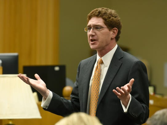 Defense attorney Joshua Hedrick, shown here during arguments in a separate case in May.