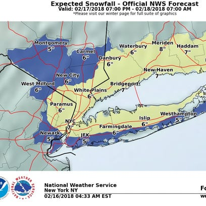 Up to 6 inches of snow could fall in the Lower Hudson