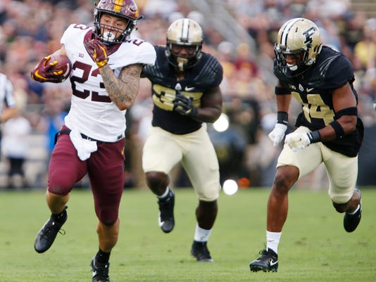 Minnesota's Shannon Brooks runs in the first quarter during an NCAA college football game against Purdue, Saturday, Oct. 7, 2017, in West Lafayette, Ind. (John Terhune/Journal & Courier via AP)