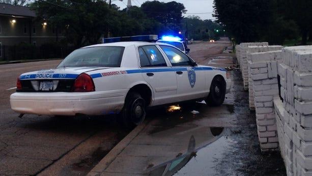 Jackson police car crashes into a wall.