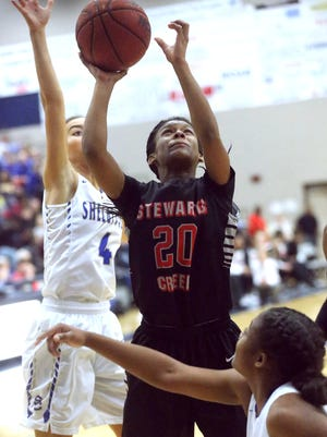 Stewarts Creek junior Lauren Flowers scored 13 points in a 54-43 win over Page Friday.