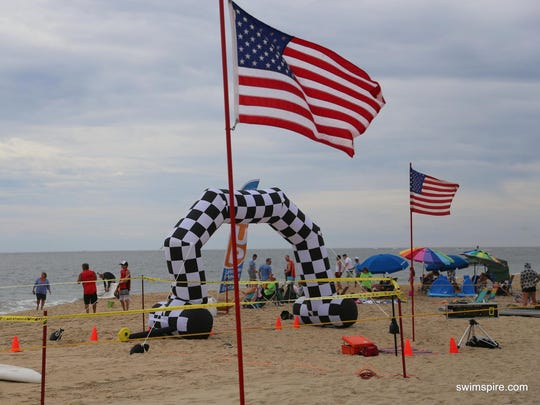 The course is set up on the beach in Ocean City for a previous Ocean Games program.