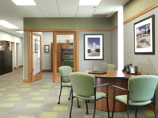 Double glass doors foster accessibility and privacy when needed.