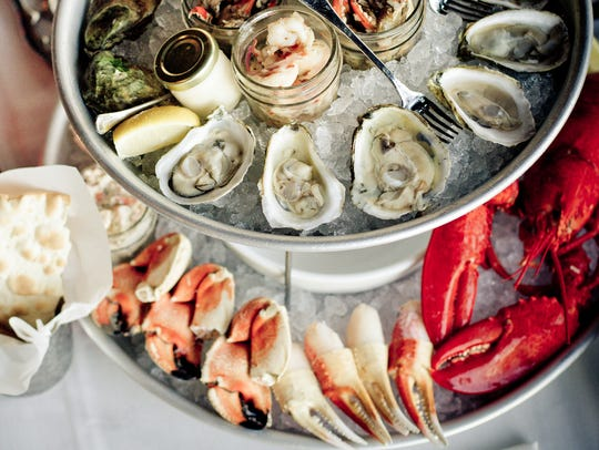 A seafood tower at The Claw Bar, which recently opened