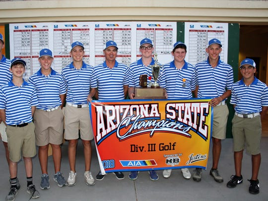 Chandler Valley Christian celebrates winning the 2018 Div. III team golf title at Omni Tucson National.
