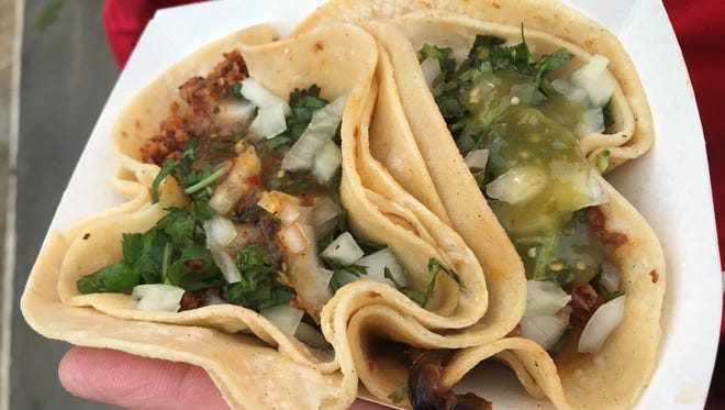 The spicy chorizo tacos from GroVers Flavors at the Taco Festival.